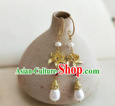 Chinese Ancient Handmade Lotus Pearls Earrings Traditional Classical Hanfu Ear Jewelry Accessories for Women