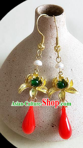 Chinese Ancient Handmade Lotus Earrings Traditional Classical Hanfu Ear Jewelry Accessories for Women