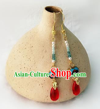 Chinese Ancient Handmade Tassel Earrings Traditional Classical Hanfu Ear Jewelry Accessories for Women