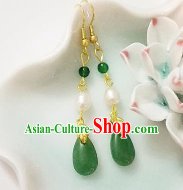 Chinese Ancient Handmade Green Agate Pearl Earrings Traditional Classical Hanfu Ear Jewelry Accessories for Women