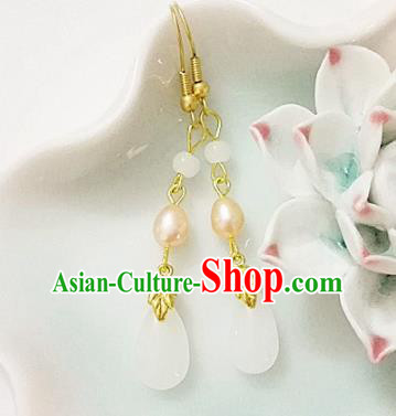 Chinese Ancient Handmade White Agate Pearl Earrings Traditional Classical Hanfu Ear Jewelry Accessories for Women