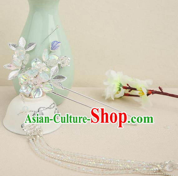 Chinese Ancient Traditional Hanfu Tassel Hairpins Step Shake Handmade Classical Hair Accessories for Women