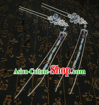 Chinese Ancient Traditional Hanfu Hairpins Tassel Step Shake Handmade Classical Hair Accessories for Women