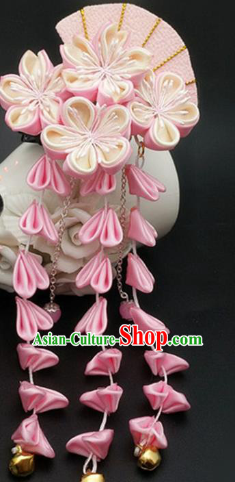 Asian Japanese Traditional Geisha Kimono Hair Claw Japan Handmade Classical Pink Flowers Hair Accessories for Women