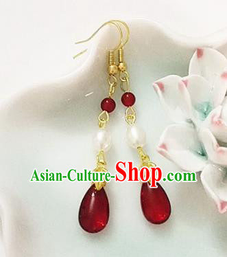 Chinese Ancient Handmade Red Agate Pearl Earrings Traditional Classical Hanfu Ear Jewelry Accessories for Women