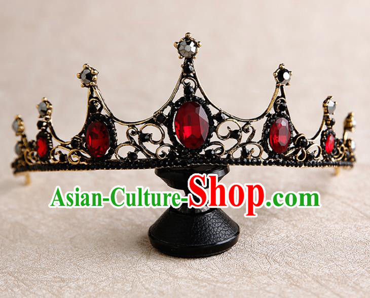 Handmade Top Grade Bride Red Jewel Hair Clasp Hair Accessories Baroque Queen Royal Crown for Women