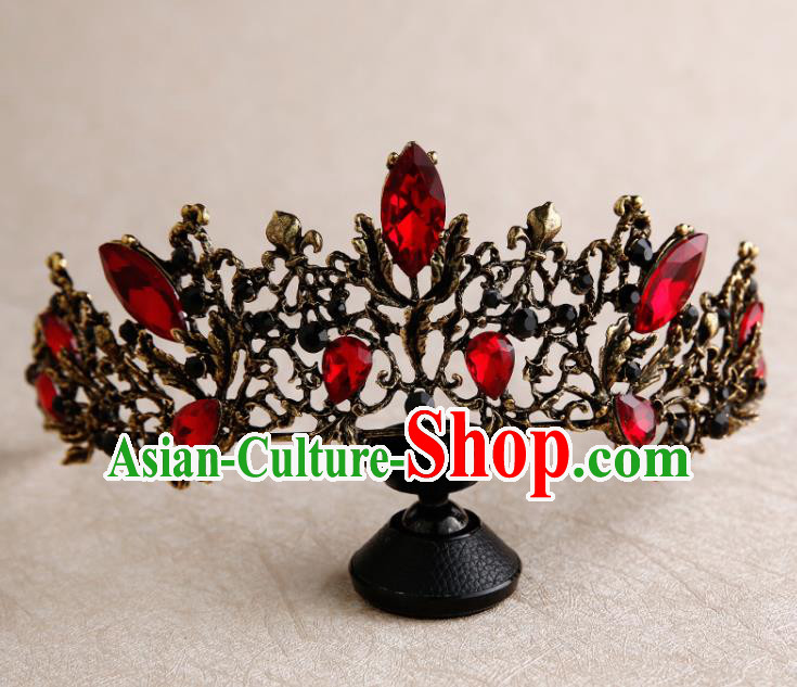 Handmade Top Grade Bride Royal Crown Red Crystal Hair Accessories Baroque Queen Hair Clasp for Women