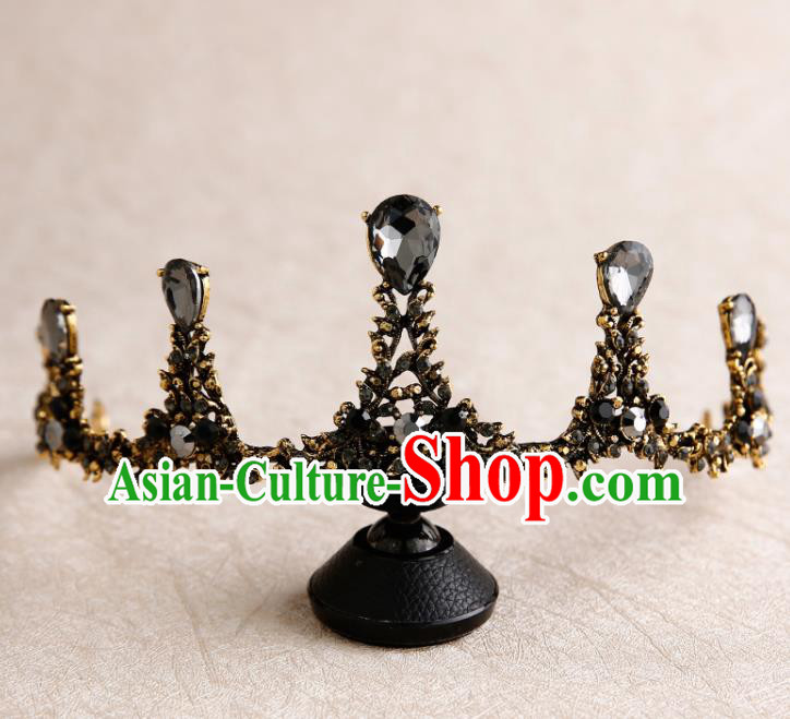 Handmade Top Grade Bride Crystal Royal Crown Hair Accessories Baroque Queen Hair Clasp for Women
