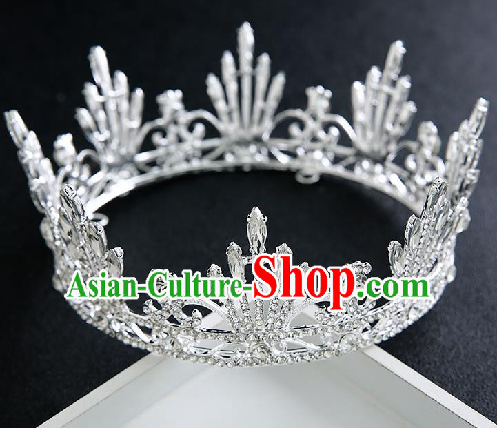 Handmade Top Grade Bride Round Royal Crown Hair Accessories Baroque Queen Crystal Hair Clasp for Women