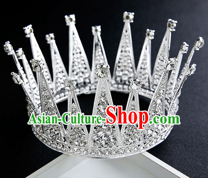 Handmade Top Grade Bride Crystal Round Royal Crown Hair Accessories Baroque Queen Hair Clasp for Women