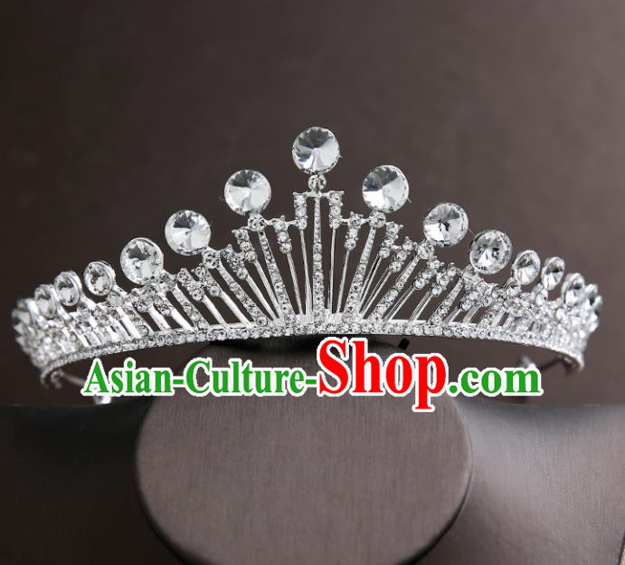 Handmade Top Grade Bride Crystal Royal Crown Hair Accessories Baroque Princess Hair Clasp for Women