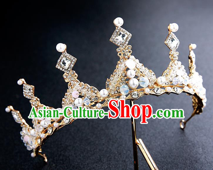 Top Grade Handmade Crystal Beads Royal Crown Hair Accessories Baroque Princess Hair Clasp for Women
