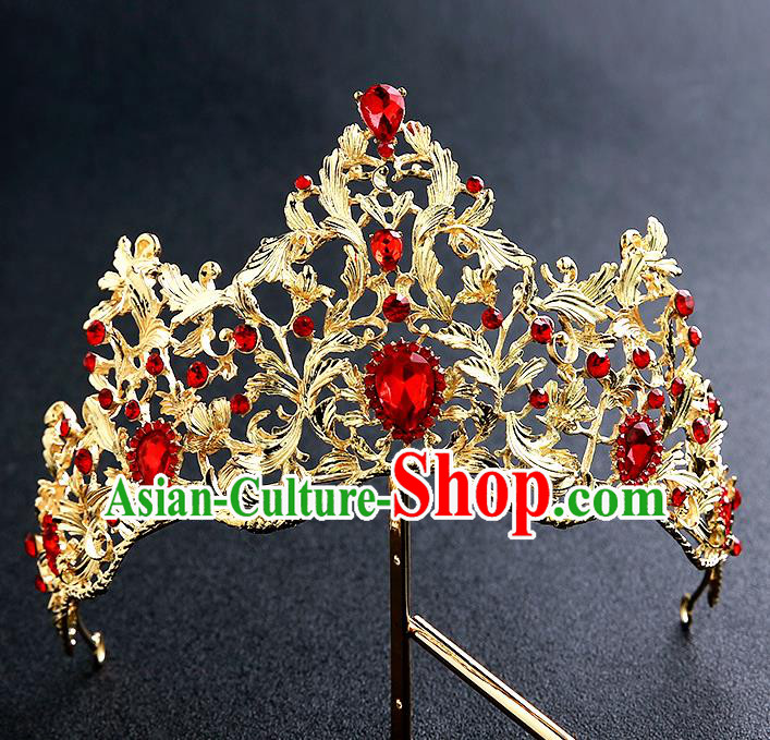 Top Grade Handmade Baroque Royal Crown Hair Accessories Princess Hair Clasp for Women