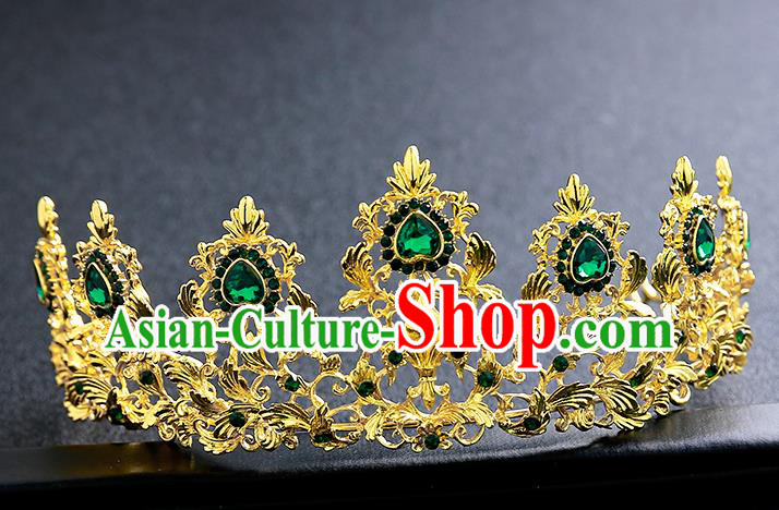 Top Grade Handmade Baroque Golden Royal Crown Hair Accessories Princess Hair Clasp for Women