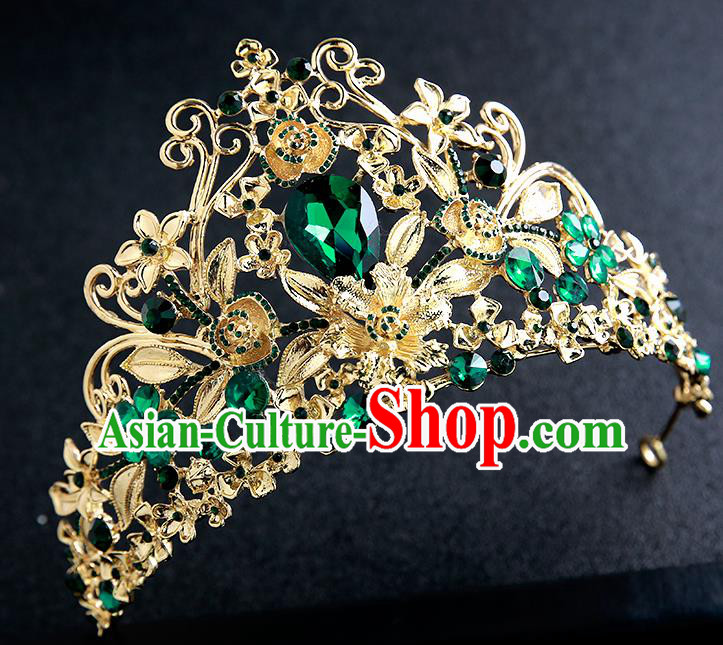 Top Grade Handmade Baroque Court Royal Crown Hair Accessories Princess Hair Clasp for Women