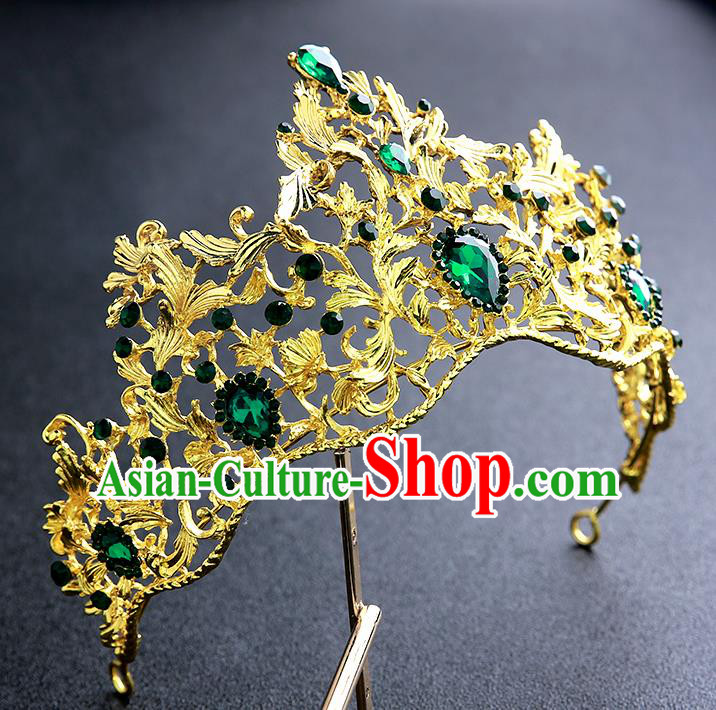 Top Grade Handmade Baroque Court Golden Royal Crown Hair Accessories Princess Hair Clasp for Women