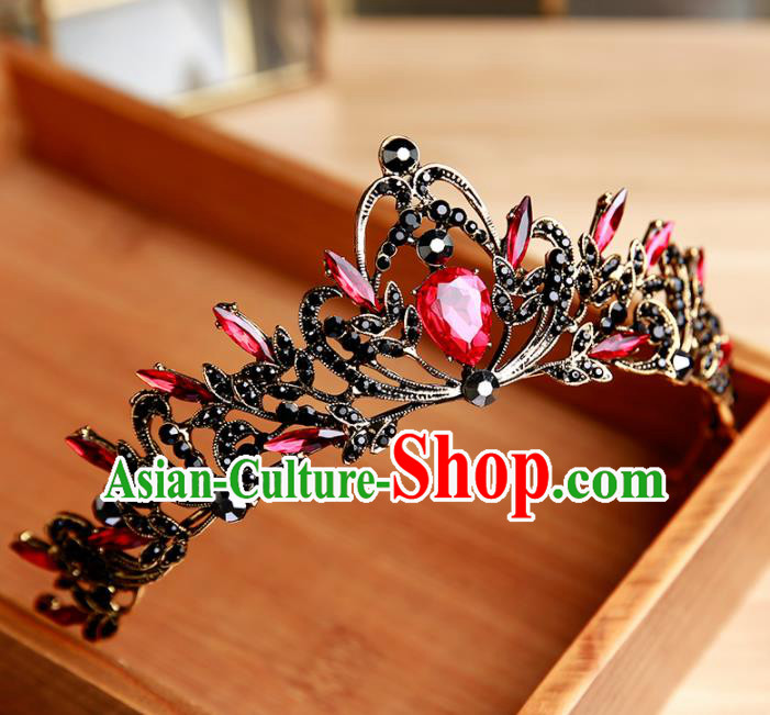 Handmade Top Grade Bride Red Hair Clasp Hair Accessories Baroque Queen Royal Crown for Women