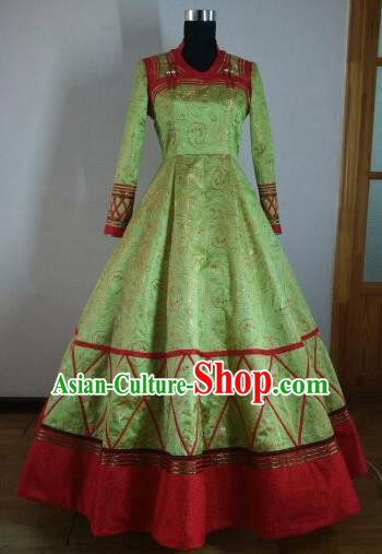 Traditional Chinese Mongol Nationality Wedding Costumes Mongols Female Folk Dance Ethnic Green Dress for Women