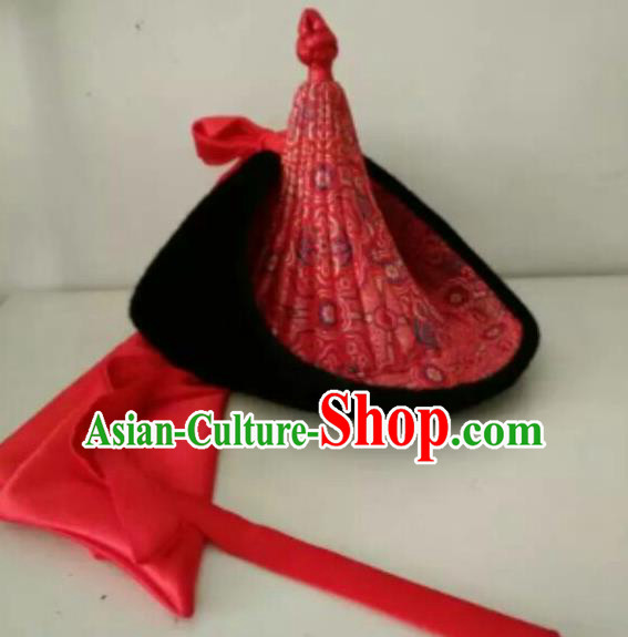 Traditional Chinese Mongol Nationality Folk Dance Hats Mongols Ethnic Royal Highness Red Hat for Men