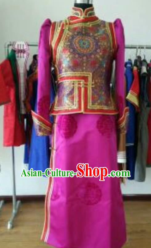 Traditional Chinese Mongol Nationality Costumes Female Folk Dance Ethnic Rosy Dress for Women