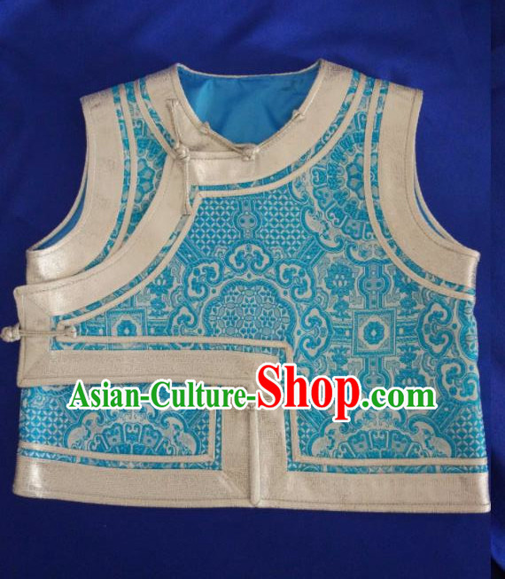 Traditional Chinese Mongol Nationality Costumes Mongols Female Folk Dance Blue Vest for Women