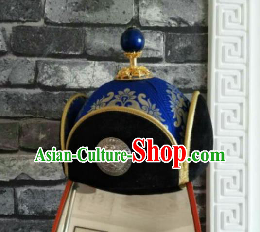 Traditional Chinese Mongol Nationality Hats Mongols Folk Dance Royalblue Hat for Men