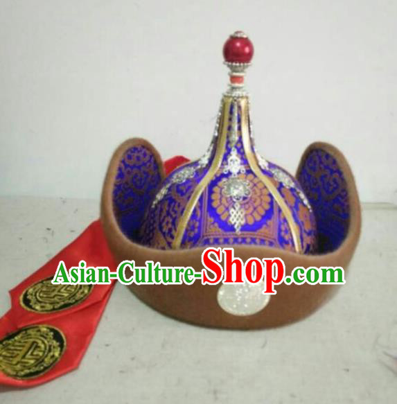 Traditional Chinese Mongol Nationality Folk Dance Hats Mongols Ethnic Royal Highness Purple Hat for Men