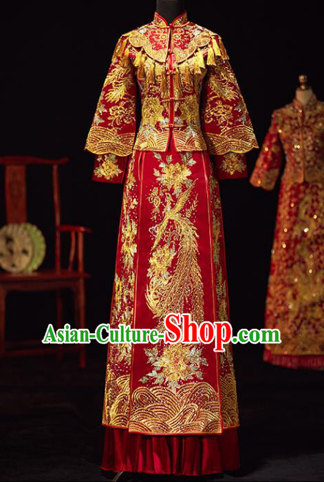 Chinese Traditional Wedding Costumes Ancient Bride Embroidered Diamante Xiuhe Suits Red Full Dress for Women