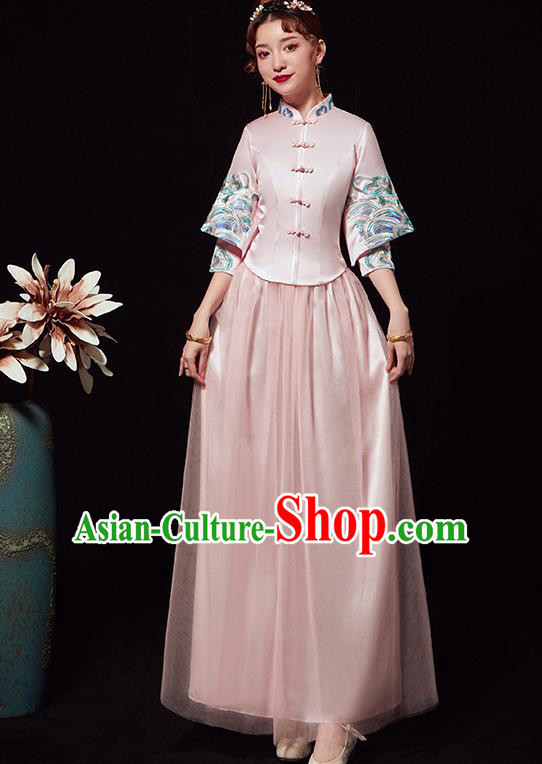 Chinese Traditional Wedding Costumes Ancient Bride Embroidered Pink Xiuhe Suits Full Dress for Women