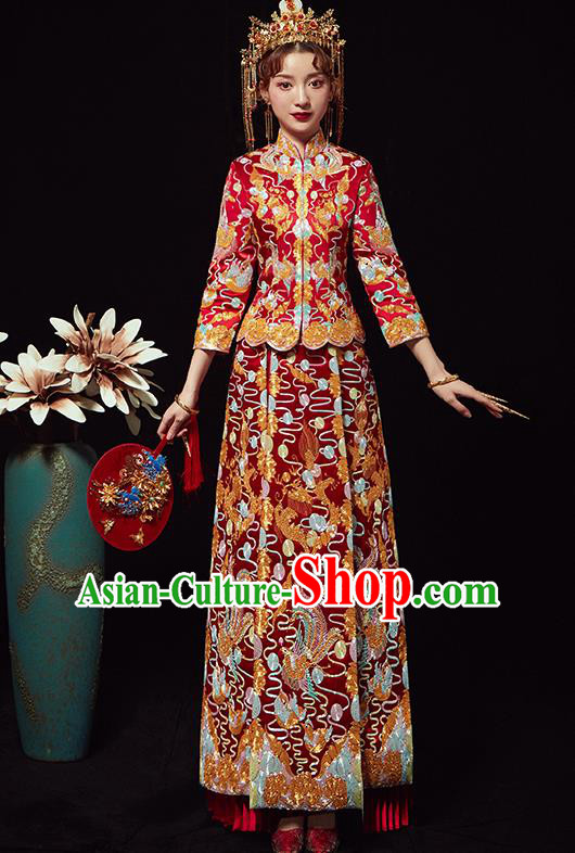 Chinese Traditional Wedding Costumes Embroidered Xiuhe Suits Ancient Bride Red Full Dress for Women