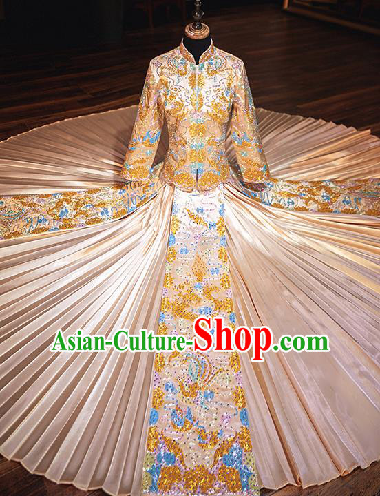 Chinese Traditional Wedding Costumes Bride Embroidered Xiuhe Suits Ancient Full Dress for Women