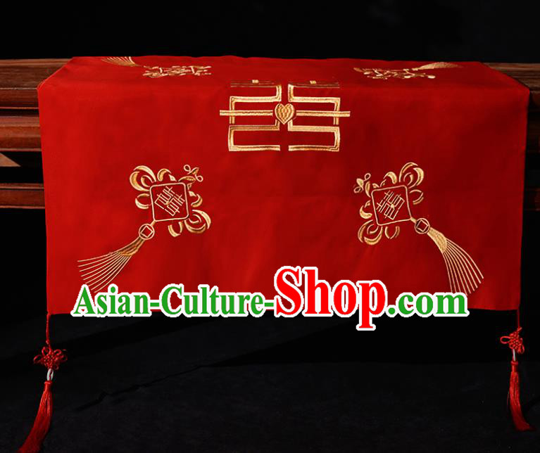 Chinese Traditional Wedding Hair Accessories Ancient Bride Embroidered Chinese Knots Red Cover Headwear for Women