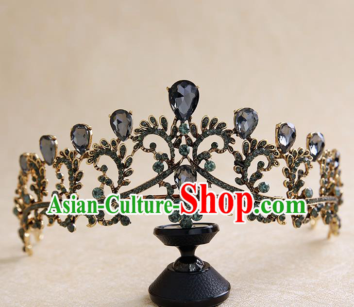 Top Grade Handmade Baroque Black Royal Crown Hair Accessories Princess Hair Clasp for Women