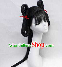 Chinese Ancient Cosplay Swordswoman Wigs Traditional Young Lady Chignon Handmade Wig Sheath