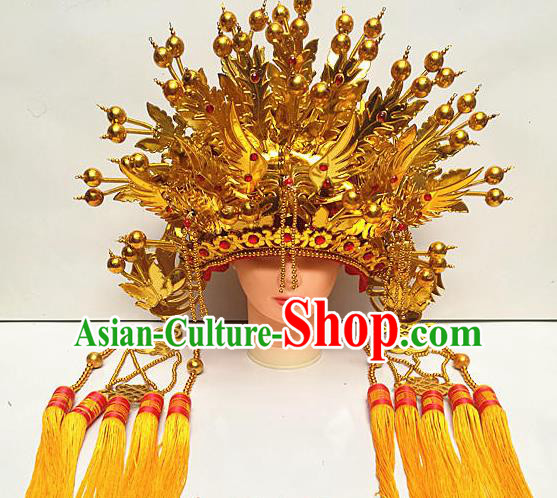 Chinese Traditional Peking Opera Actress Empress Phoenix Coronet Beijing Opera Golden Chaplet Hats for Women