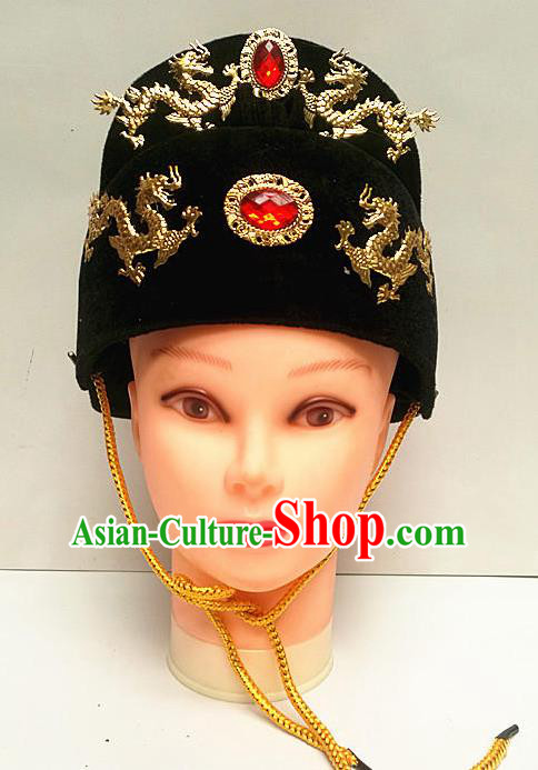 Traditional Chinese Beijing Opera Minister Black Hat Peking Opera Hair Accessories Hat for Men