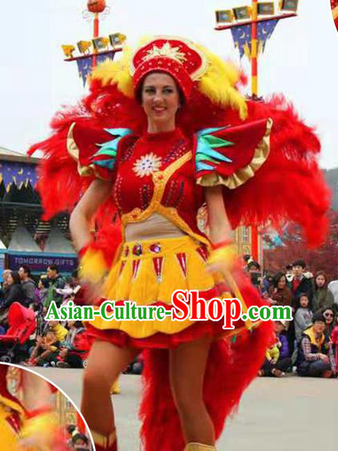 Halloween Cosplay Stage Show Feather Costumes Brazilian Carnival Parade Dress for Women