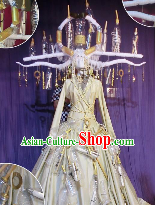 Halloween Cosplay Stage Show Costumes Brazilian Carnival Parade White Dress and Headwear for Women