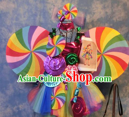 Halloween Cosplay Stage Show Candy Costumes Brazilian Carnival Parade Dress and Headwear for Women