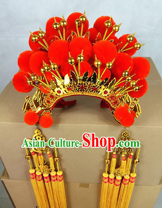 Chinese Traditional Peking Opera Red Phoenix Coronet Beijing Opera Diva Headwear for Women