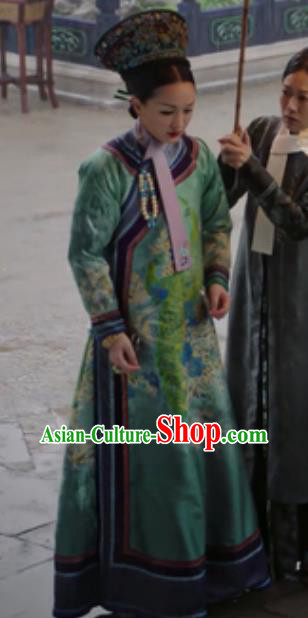 Chinese Ancient Qing Dynasty Manchu Empress Queen Embroidered Costumes and Headpiece Complete Set