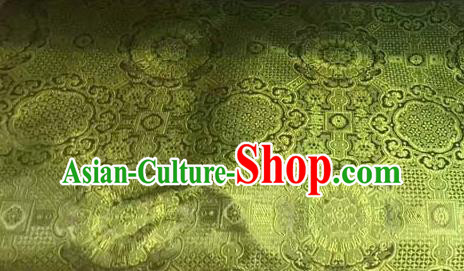 Asian Chinese Tang Suit Material Traditional Pattern Design Olive Green Brocade Silk Fabric