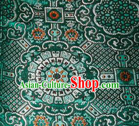 Asian Chinese Tang Suit Material Traditional Pattern Design Deep Green Brocade Silk Fabric
