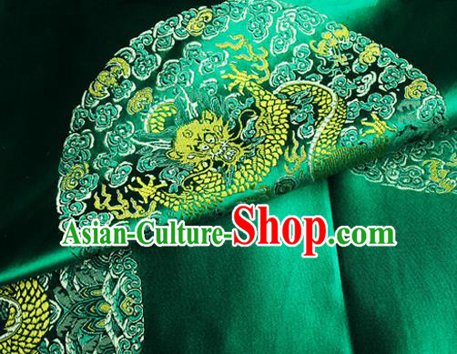 Asian Chinese Tang Suit Satin Material Traditional Dragon Pattern Design Green Brocade Silk Fabric