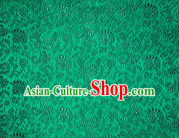 Asian Chinese Tang Suit Material Traditional Cockscomb Pattern Design Green Satin Brocade Silk Fabric