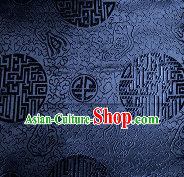 Asian Chinese Tang Suit Material Traditional Royal Pattern Design Navy Satin Brocade Silk Fabric