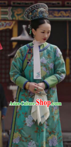 Chinese Traditional Costumes Ancient Qing Dynasty Manchu Empress Ruyi Embroidered Dresses and Headpiece Complete Set