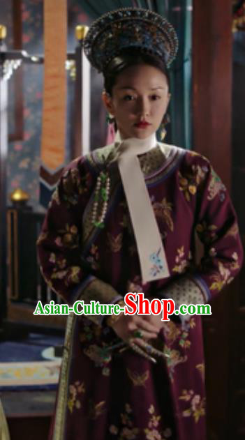 Chinese Traditional Palace Costumes Ancient Qing Dynasty Manchu Imperial Consort Ruyi Embroidered Dresses and Headpiece Complete Set