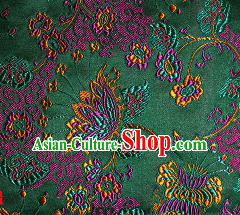 Asian Chinese Tang Suit Green Brocade Material Traditional Palace Pattern Design Satin Silk Fabric