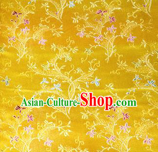 Asian Chinese Tang Suit Brocade Golden Silk Fabric Traditional Royal Pattern Design Satin Material
